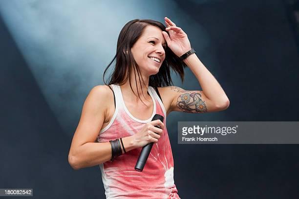 Austrian singer Christina Stuermer performs live during the Click2Concert at the Flughafen Tempelhof on September 8 2013 in Berlin Germany