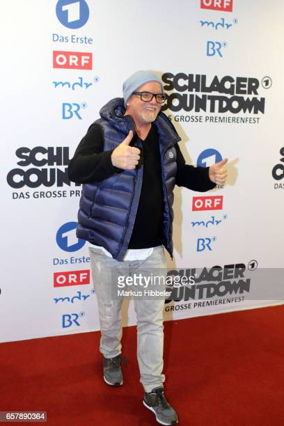 Austrian singer DJ Oetzi poses during the show 'Schlagercountdown Das grosse Premierenfest' at EWE Arena on March 25 2017 in Oldenburg Germany