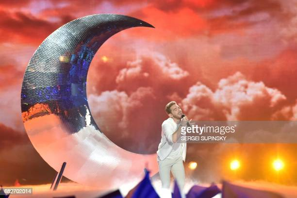 Austrian singer representing Austria with the song 'Running on air' Nathan Trent performs on stage during the final of the 62nd edition of the...