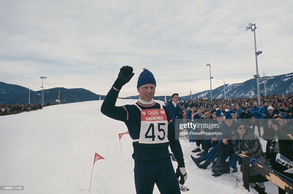 Austrian ski jumper Reinhold Bachler pictured competing in the Large hill individual event at the 1968 Winter Olympic Games at...