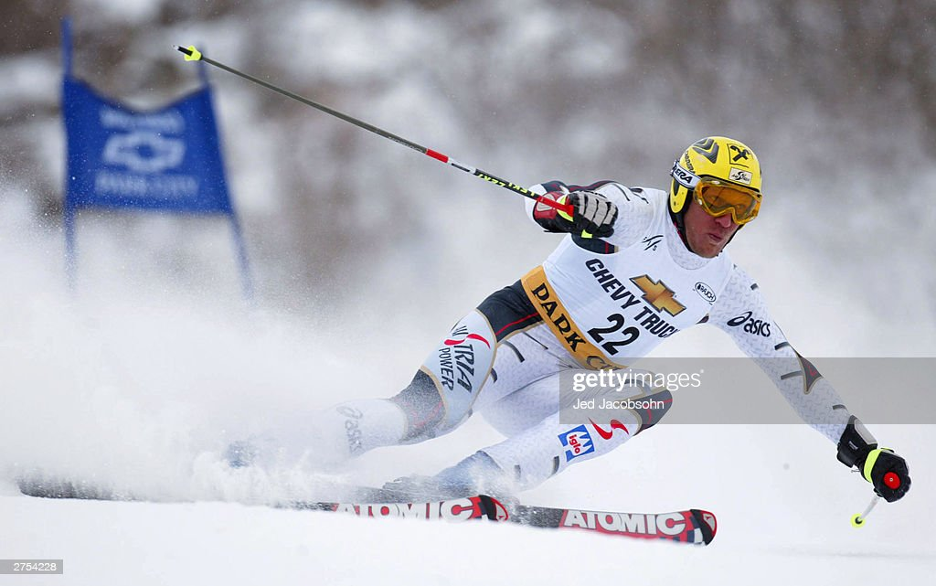 Austrian skier Hermann Maier in action on his second run of the Mens FIS Alpine World Cup Giant Slalom on November 22, 2003 at Park City ski resort in Park City, Utah.