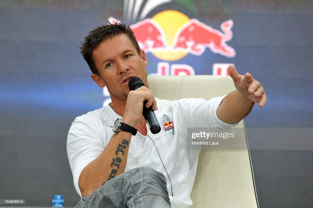 Austrian skydiver <a gi-track='captionPersonalityLinkClicked' href=/galleries/search?phrase=Felix+Baumgartner&family=editorial&specificpeople=787796 ng-click='$event.stopPropagation()'>Felix Baumgartner</a> speaks during a press conference at the Hangar-7 on October 27, 2012 in Salzburg, Austria.