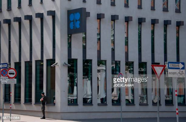 Austrian soldier guards the OPEC headquarters in Vienna on May 24 on the eve of the Organization of the Petroleum Exporting Countries meeting / AFP...