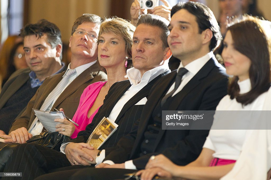 Austrian television presenter Alfons Haider (3rd, R) sits next to his colleague Barbara Rett (3rd, L) and commentator Karl Hohenlohe (2nd, L) during the press conference ahead of Vienna Opera Ball on January 15, 2013 in Vienna, Austria.
