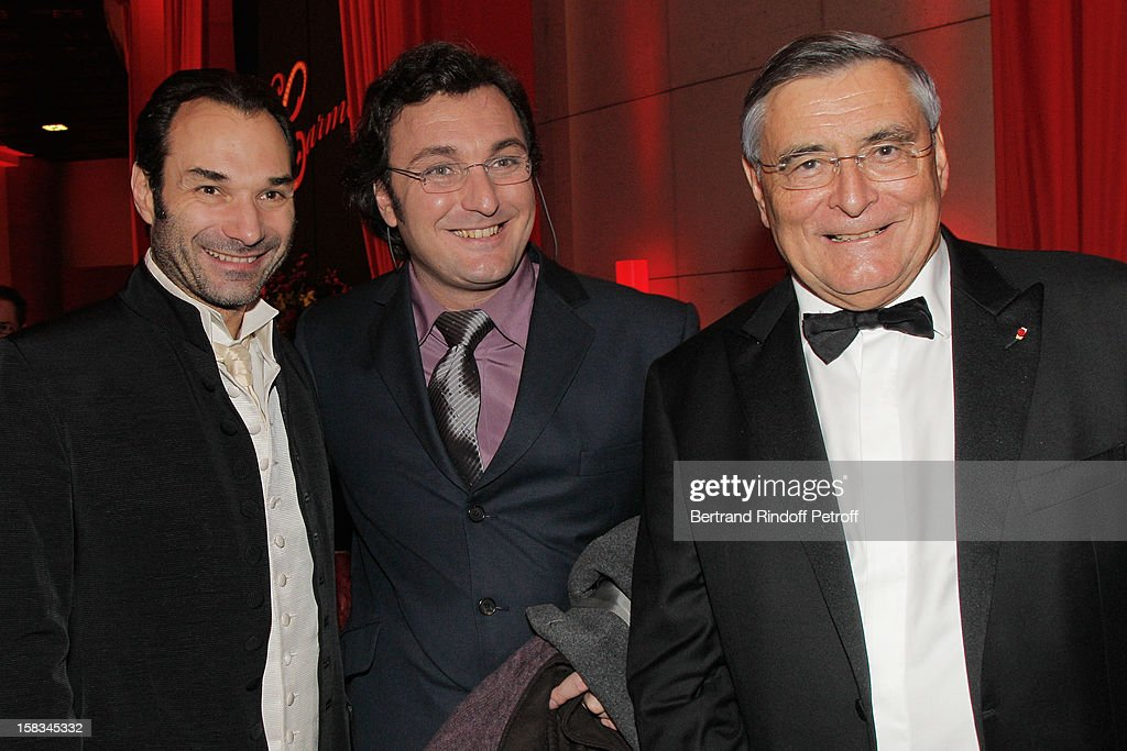 Austrian tenor Nikolai Schukoff, French baritone Ludovic Tezier and Arop President Jean-Louis Beffa attend the Arop Gala event for Carmen new production launch at Opera Bastille on December 13, 2012 in Paris, France.