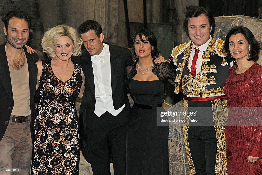 Austrian tenor Nikolai Schukoff, Italian mezzo-soprano Anna Caterina Antonacci, conductor Philippe Jordan, Arop Gala Event President actress Salma Hayek, French baritone Ludovic Tezier and Mexico's Ambassador to the OECD Agustin Garcia Lopez' wife Katia pose during the Arop Gala event for Carmen new production launch at Opera Bastille on December 13, 2012 in Paris, France.
