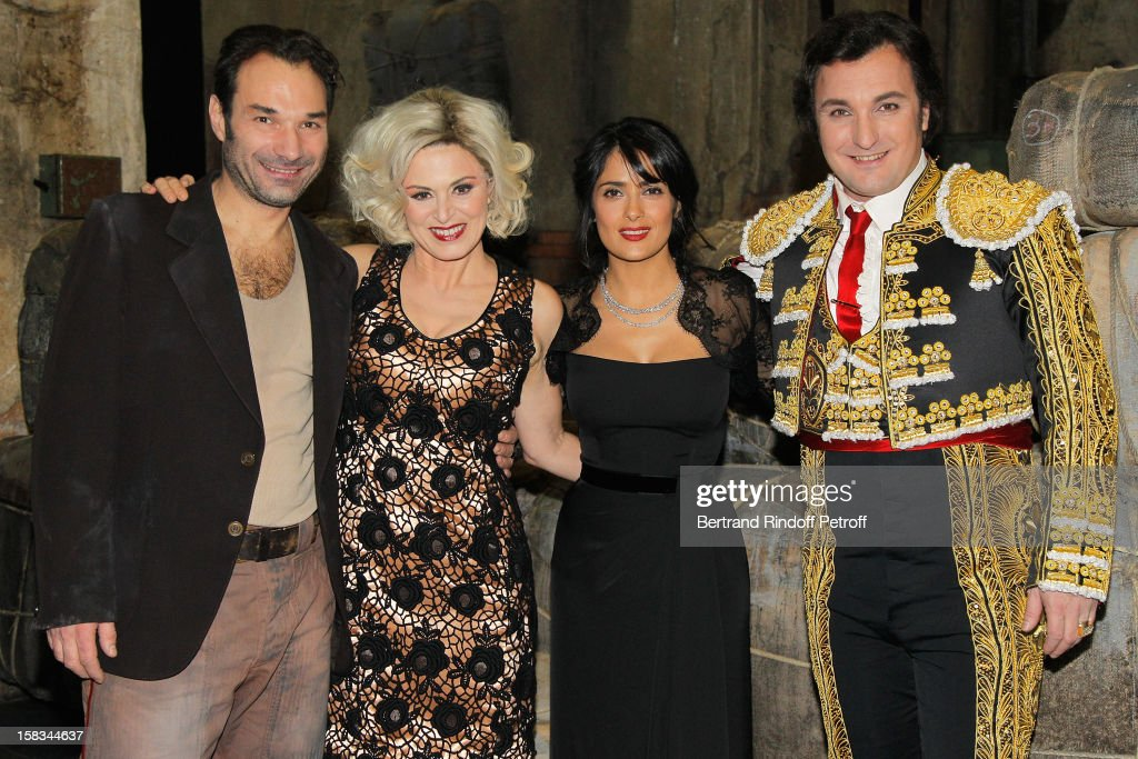 Austrian tenor Nikolai Schukoff, Italian mezzo-soprano Anna Caterina Antonacci, Arop Gala Event President actress <a gi-track='captionPersonalityLinkClicked' href=/galleries/search?phrase=Salma+Hayek&family=editorial&specificpeople=201844 ng-click='$event.stopPropagation()'>Salma Hayek</a> and French baritone Ludovic Tezier pose during the Arop Gala event for Carmen new production launch at Opera Bastille on December 13, 2012 in Paris, France.