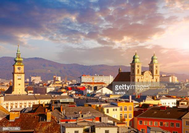Austrian town Linz with Old Cathedral