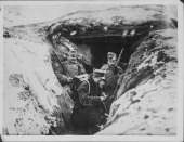 Austrian troops in the trenches on the Carpathian Front during World War One Russia circa 19141918