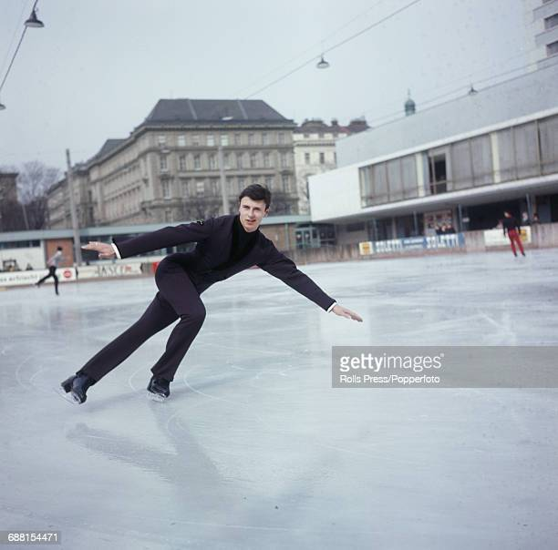 Austrian world champion figure skater Emmerich Danzer pictured during a practice session on an ice rink in Vienna Austria on 3rd March 1967