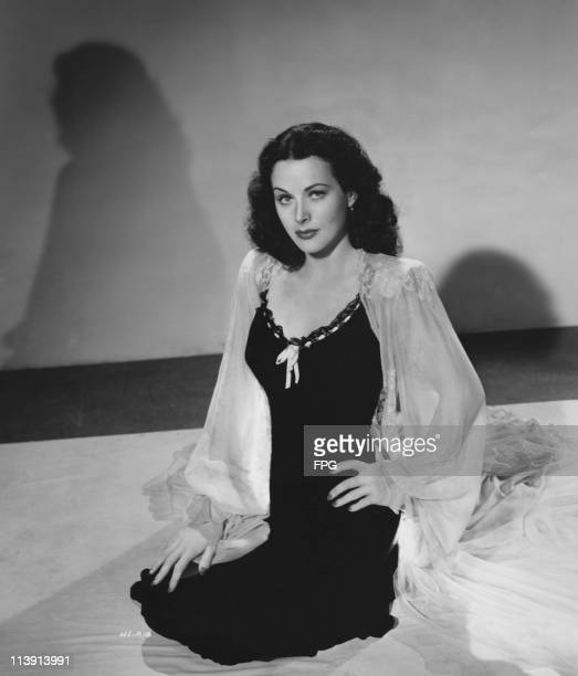 AustrianAmerican film actress Hedy Lamarr wearing a black chiffon nightgown with contrasting white chiffon negligee circa 1945