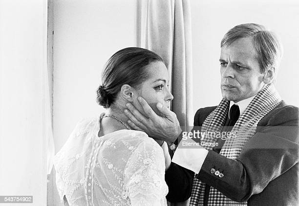 Austrianborn actress Romy Schneider and Germanborn actor Klaus Kinski on the set of the film 'L'Important C'est d'Aimer' directed by Polish director...