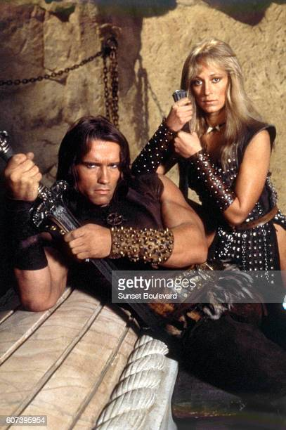 Austrianborn American actor Arnold Schwarzenegger and American actress Sandahl Bergman on the set of Conan the Barbarian directed by John Milius