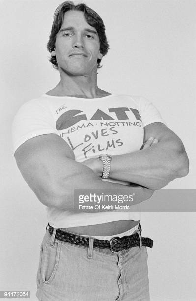 Austrianborn American actor Arnold Schwarzenegger in London to publicise the Gate Cinema in Notting Hill 1977