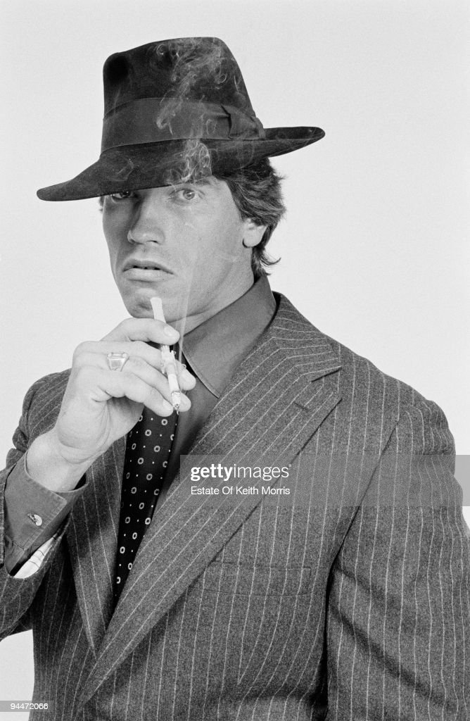 Austrian-born American actor Arnold Schwarzenegger in London to publicise the Gate Cinema in Notting Hill, 1977.