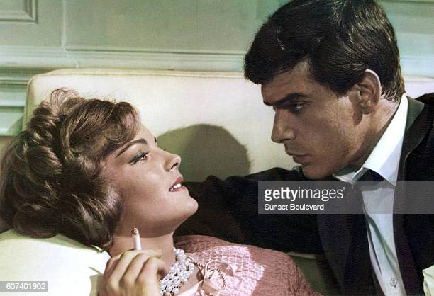 Austrianborn German actress Romy Schneider and American actor Tomas Milian on the set of Boccaccio '70 written and directed by Italian Federico...