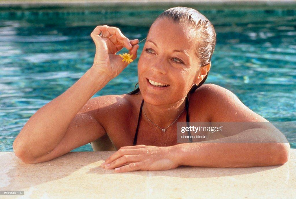Austrian-born German actress Romy Schneider on holiday in Sicily.