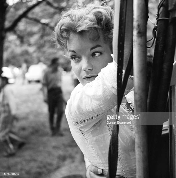 Austrianborn German actress Romy Schneider on the set of Christine written and directed by French Pierre GaspardHuit