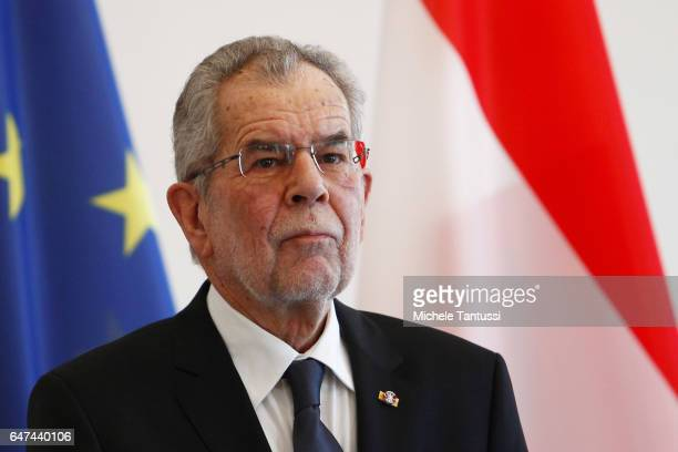 Austrian's state President Alexander Van der Bellen speaks during a joint press conference with germans President in the Bellevue Castle after of the...