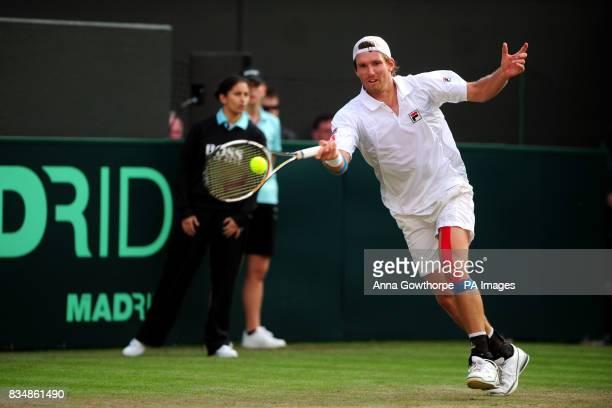 Austria's Alexander Peya in action against Great Britain's Alex Bogdanovic during the Davis Cup World Group PlayOffs