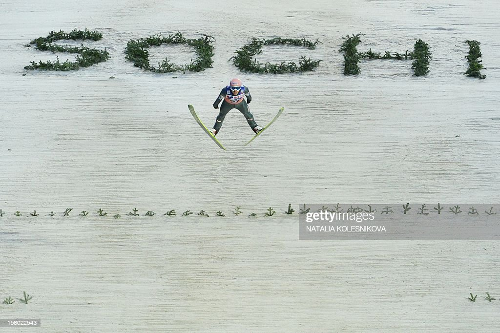 Austria's Andreas Kofler jumps during the men's normal hill individual at the FIS Ski Jumping World Cup tournament in Sochi on December 9, 2012. Kofler won the competition.