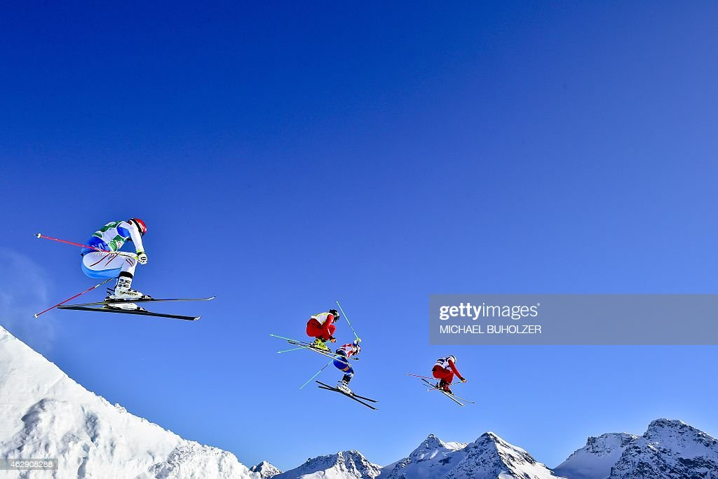 Austria's <a gi-track='captionPersonalityLinkClicked' href=/galleries/search?phrase=Andreas+Matt&family=editorial&specificpeople=4817189 ng-click='$event.stopPropagation()'>Andreas Matt</a>, Switzerland's Jonas Lenherr, First-placed Swedens's Victor Oehling Norberg and Switzerland's Patrick Gasser compete during the Men's Snow Ski Cross Eight Final at FIS World Cup in Arosa, on February 7, 2015.