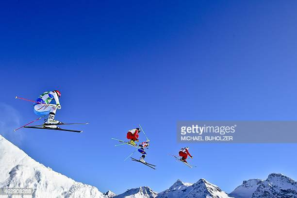 Austria's Andreas Matt Switzerland's Jonas Lenherr Firstplaced Swedens's Victor Oehling Norberg and Switzerland's Patrick Gasser compete during the...