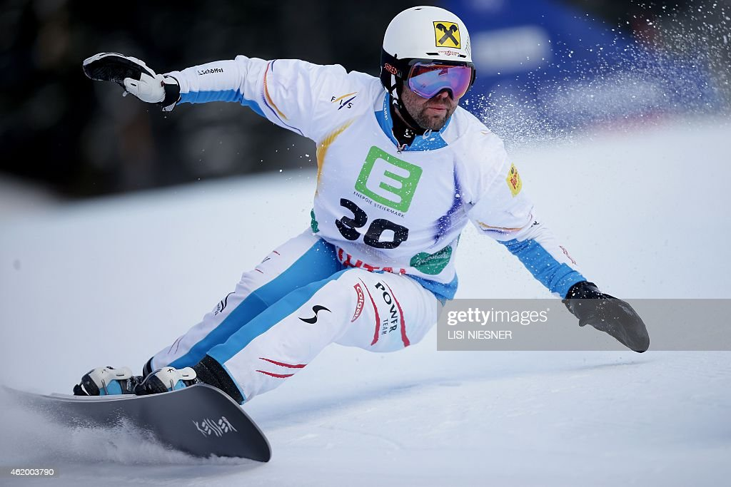 Austria's <a gi-track='captionPersonalityLinkClicked' href=/galleries/search?phrase=Andreas+Prommegger&family=editorial&specificpeople=869827 ng-click='$event.stopPropagation()'>Andreas Prommegger</a> competes during the Men's Snowboard Parallel Giant Slalom Qualification of the FIS Freestyle and Snowboarding World Ski Championships 2015 in Lachtal, near Kreischberg, Austria on January 23, 2015. AFP PHOTO / LISI NIESNER