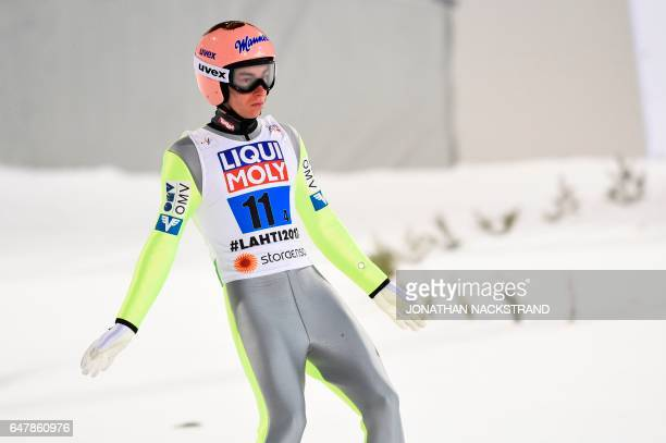 Austria's Andreas Wellinger celebrates after the Men's Large Hill Team Ski Jumping event of the 2017 FIS Nordic World Ski Championships in Lahti...