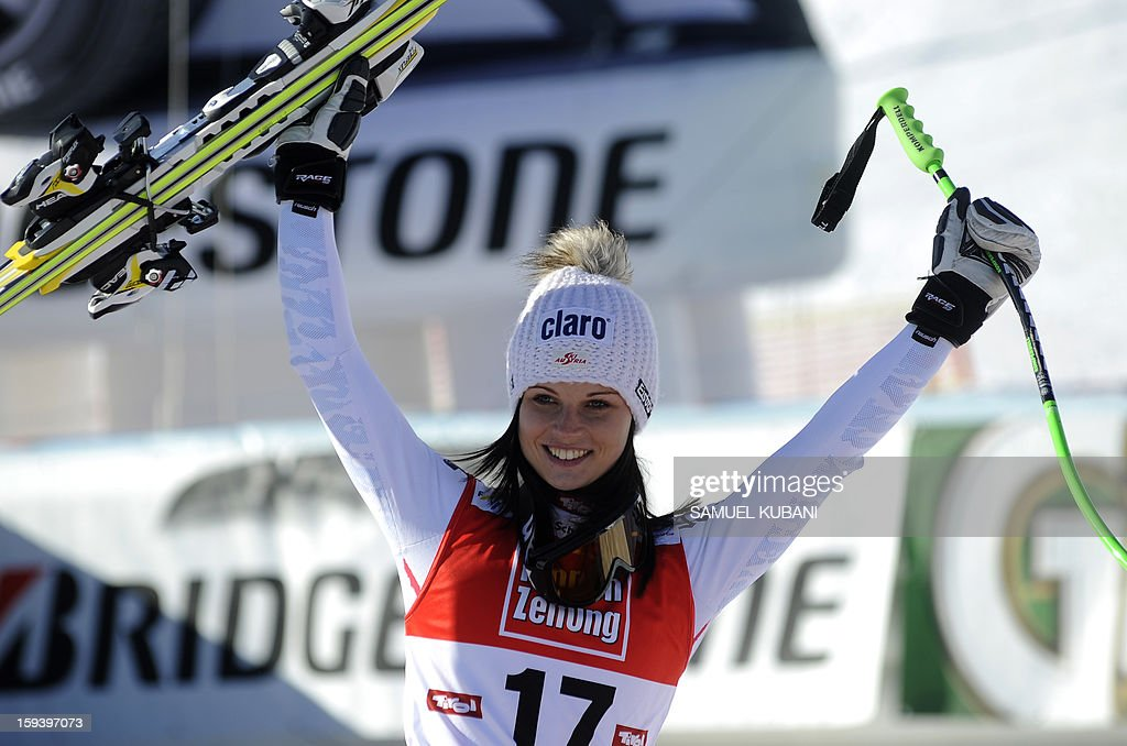 Austria's Anna Fenninger celebrates in finish area her second place at the women's World Cup Super G, on January 13, 2013 in St Anton am Arlberg, Austria.