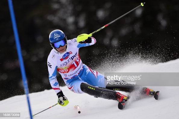 Austria's Benjamin Raich competes during the Men Slalom race at the Alpine ski World Cup finals on March 17 2013 in Lenzerheide AFP PHOTO / FABRICE...