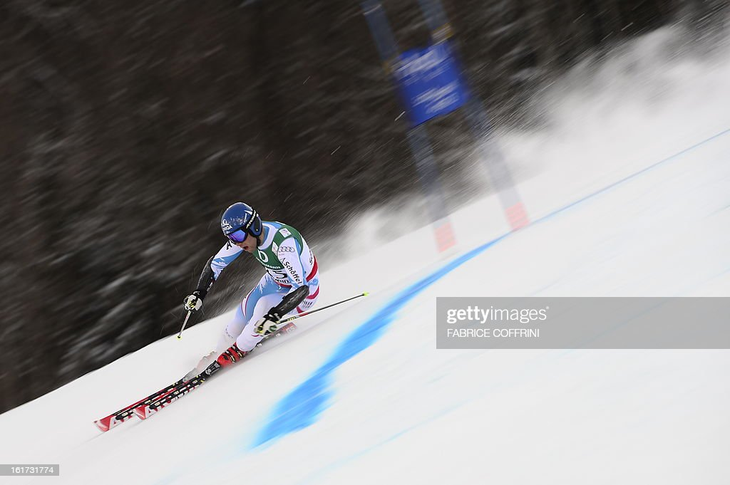 Austria's Benjamin Raich skis during the first run of the men's Giant slalom at the 2013 Ski World Championships in Schladming, Austria on February 15, 2013.