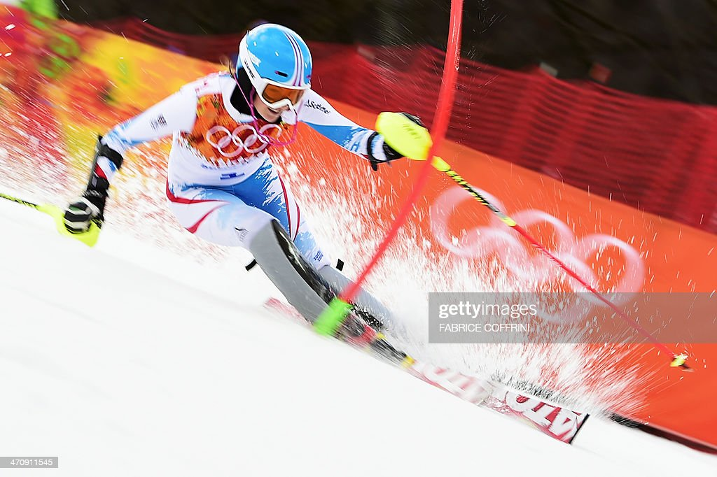 Austria's Bernadette Schild competes during the Women's Alpine Skiing Slalom Run 1 at the Rosa Khutor Alpine Center during the Sochi Winter Olympics on February 21, 2014.