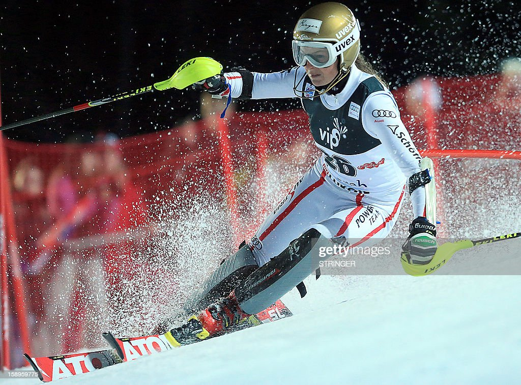 Austria's Bernadette Schild competes during the women's FIS slalom competition race in Sljeme, near Zagreb, on January 4, 2013. AFP PHOTO/ Stringer