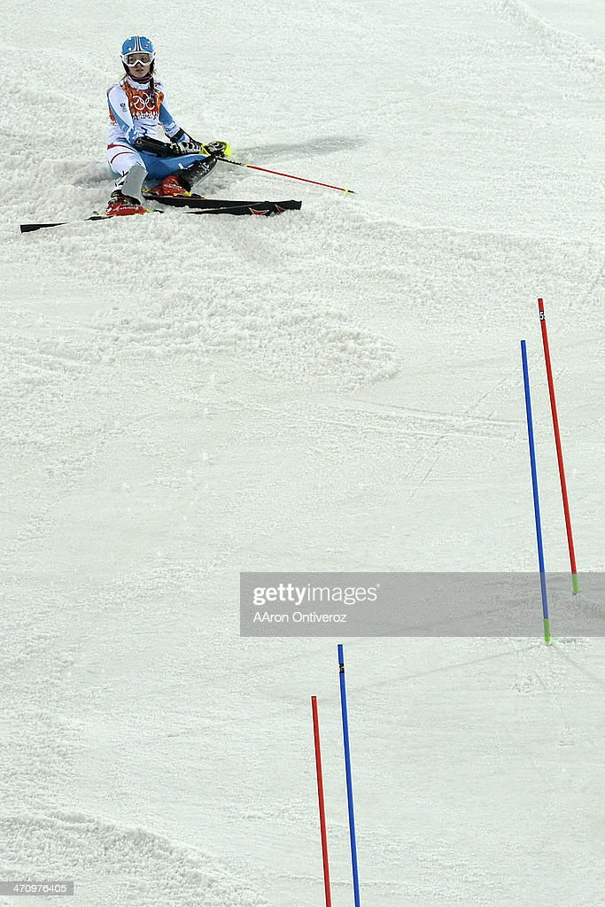 Austria's <a gi-track='captionPersonalityLinkClicked' href=/galleries/search?phrase=Bernadette+Schild&family=editorial&specificpeople=7408037 ng-click='$event.stopPropagation()'>Bernadette Schild</a> reacts to falling during ladies' slalom run 2. Sochi 2014 Winter Olympics on Friday, February 21, 2014 at Rosa Khutor Alpine Center.