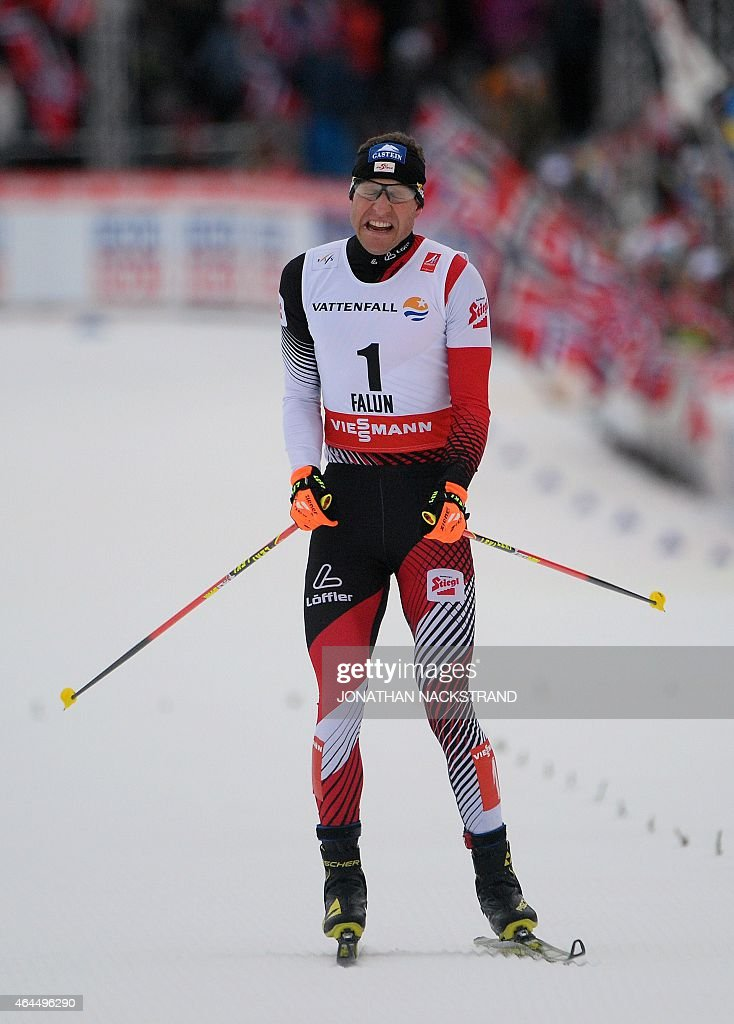 Austria's <a gi-track='captionPersonalityLinkClicked' href=/galleries/search?phrase=Bernhard+Gruber&family=editorial&specificpeople=824521 ng-click='$event.stopPropagation()'>Bernhard Gruber</a> (1st) competes to win the10km Individual Gundersen Nordic Combined competition in the ski stadium of the 2015 FIS Nordic World Ski Championships in Falun, Sweden, on February 26, 2015.