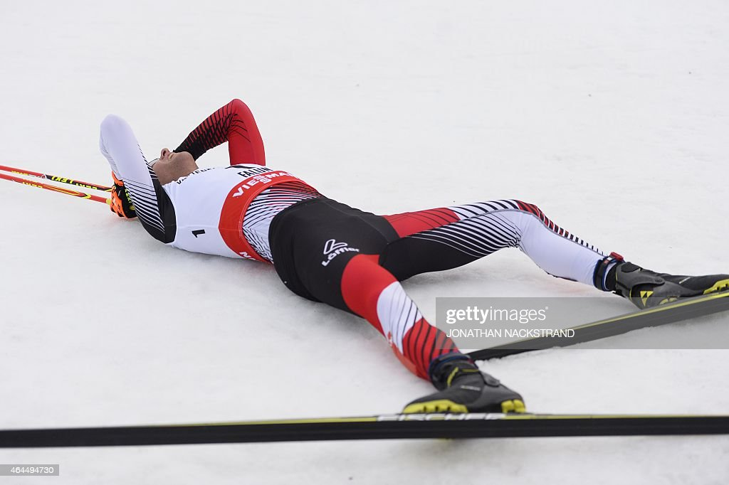Austria's Bernhard Gruber reacts after winning the10km Individual Gundersen Nordic Combined competition in the ski stadium of the 2015 FIS Nordic World Ski Championships in Falun, Sweden, on February 26, 2015.