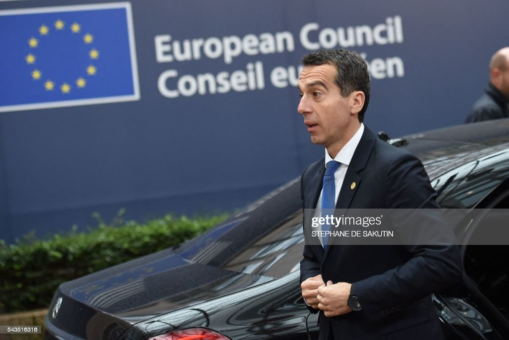 Austria's Chancellor Christian Kern arrives before an EU summit meeting on June 29, 2016 at the European Union headquarters in Brussels. European Union leaders will assess the damage from Britain's decision to leave the bloc and try to prevent further disintegration, as they meet for the first time without a British representative on June 29, 2016. And as the shockwaves reverberate around British politics, Scottish First Minister Nicola Sturgeon is also expected in Brussels 'utterly determined' to keep her pro-EU country in the club despite the Brexit vote. SAKUTIN