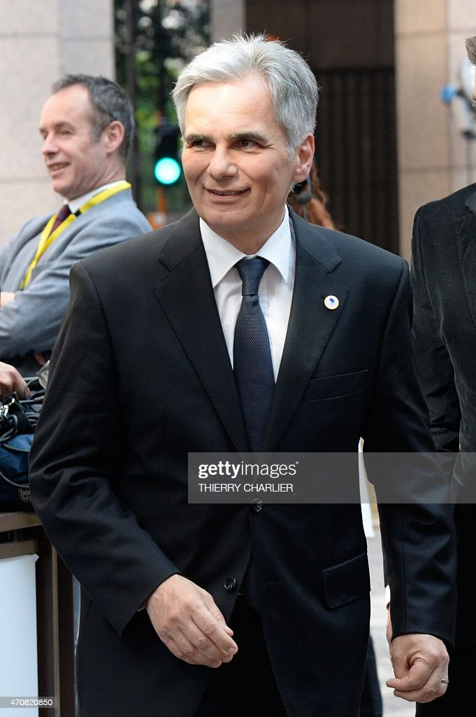 Austria's Chancellor <a gi-track='captionPersonalityLinkClicked' href=/galleries/search?phrase=Werner+Faymann&family=editorial&specificpeople=4101130 ng-click='$event.stopPropagation()'>Werner Faymann</a> arrives at the European Council headquarters for an extraordinary summit of European leaders to deal with a worsening migration crisis, on April 23, 2015 in Brussels. European leaders gather on April 23 to consider military action, at an extraordinary summit to deal with a worsening migration crisis after a series of deadly shipwrecks in the Mediterranean. AFP PHOTO / THIERRY CHARLIER
