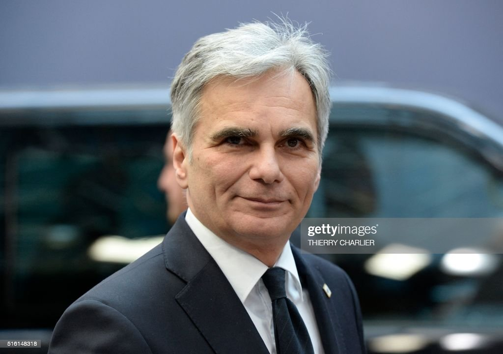 Austria's Chancellor Werner Faymann arrives for the European Union summit in Brussels on March 17 where 28 EU leaders will discuss the ongoing...