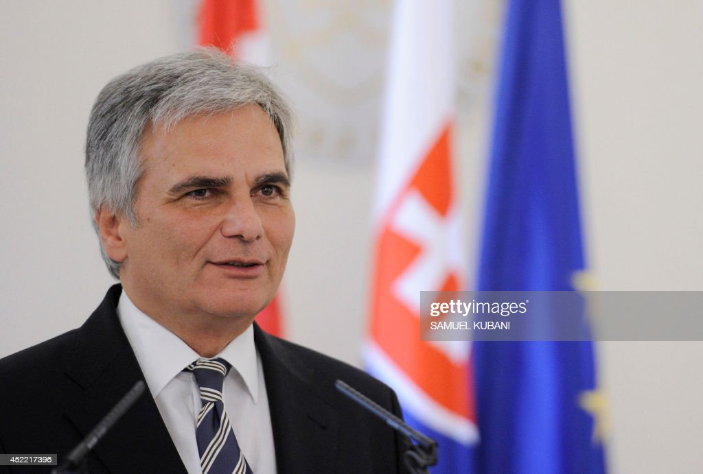 Austria's chancellor Werner Faymann speaks during a joint press conference with Slovakia's Prime Minister after their official meeting in Bratislava...