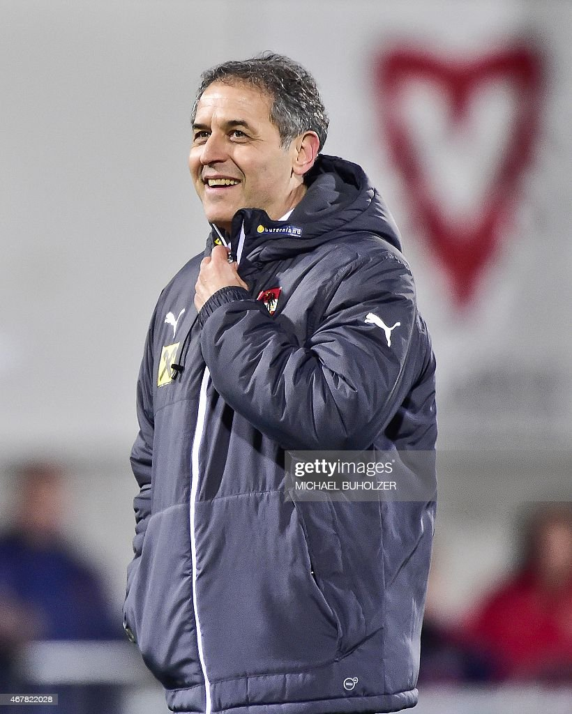 Austria's coach Marcel Koller reacts after the Euro 2016 qualifying football match between Liechtenstein and Austria at the Rheinpark stadium in Vaduz on March 27, 2015. Belarus won 2-1.