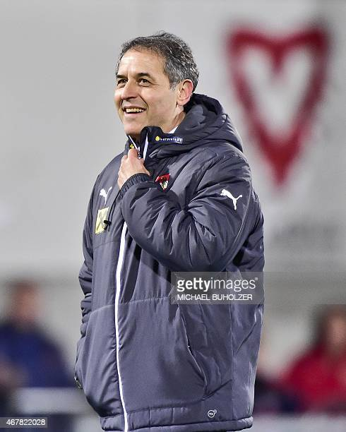 Austria's coach Marcel Koller reacts after the Euro 2016 qualifying football match between Liechtenstein and Austria at the Rheinpark stadium in...