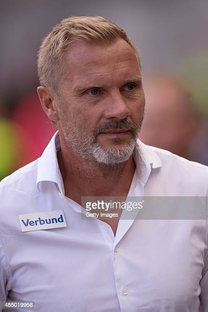 Austria's coach Thorsten Fink is seen prior the tipico Bundesliga match between RB Salzburg and Austria Wien at Red Bull Arena on August 23 2015 in...