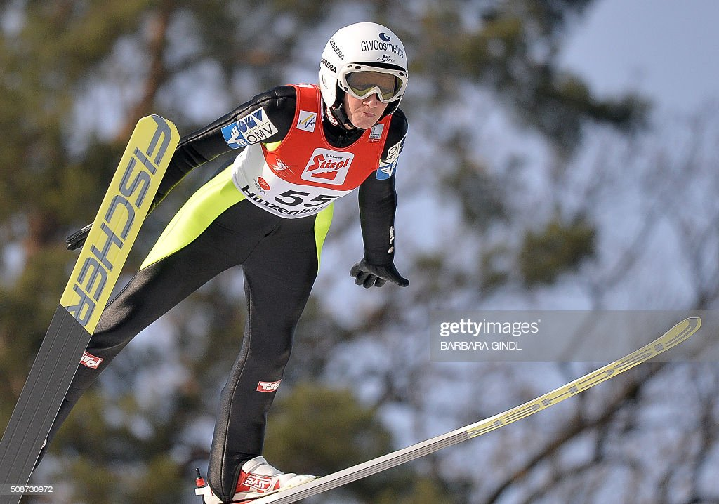 Austria's Daniela Iraschko-Stolz jumps during the first round of the women's ski jumping world cup in Hinzenbach, Upper Austria, on February 6, 2016. / AFP / APA / BARBARA GINDL / Austria OUT