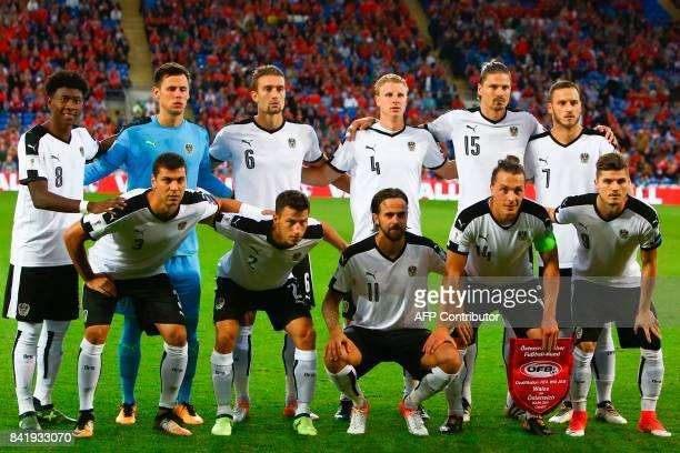 Austria's defender David Alaba Austria's goalkeeper Heinz Lindner Austria's midfielder Stefan Ilsanker Austria's defender Martin Hinteregger...