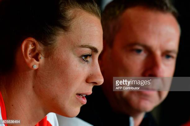 Austria's defender Viktoria Schnaderbeck speaks during press conference with Austria's head coach Dominik Thalhammer as part of the UEFA Women's Euro...