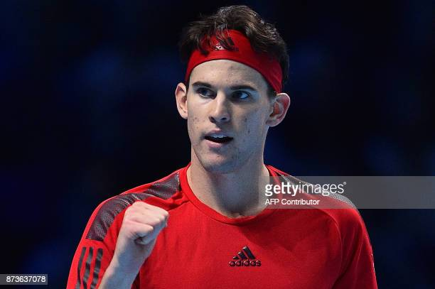 Austria's Dominic Thiem reacts after winning the second set against Bulgaria's Grigor Dimitrov during day two of the ATP World Tour Finals tennis...