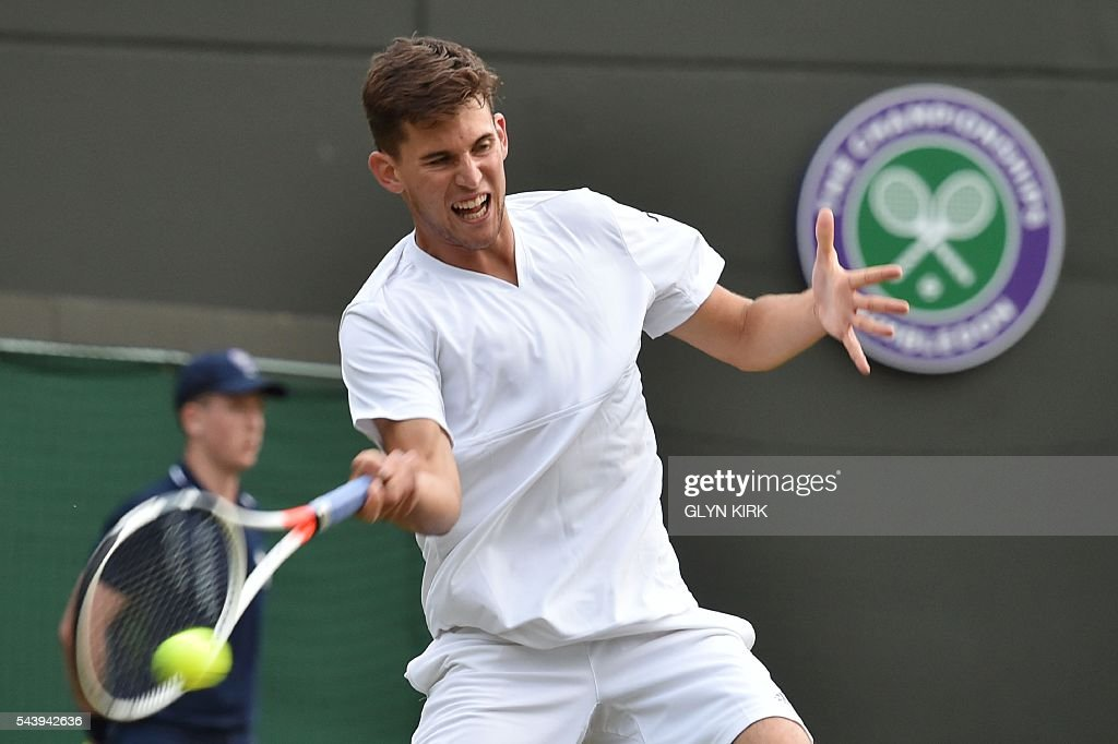 Austria's Dominic Thiem returns against Czech Republic's Jiri Vesely during their men's singles second round match on the fourth day of the 2016 Wimbledon Championships at The All England Lawn Tennis Club in Wimbledon, southwest London, on June 30, 2016. / AFP / GLYN