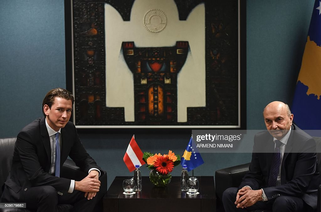 Austria's Foreign Affairs Minister Sebastian Kruz (L) and Kosovo Prime Minister Isa Mustafa are pictured following their meeting in Pristina on February 11, 2016. / AFP / ARMEND NIMANI